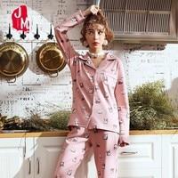 Autumn 100 Cotton Pyjamas Women Set Long Sleeve Pyjama Femme Winter Turn down Collar Night Sexy Pajamas Cartoon Homewear XL XXL