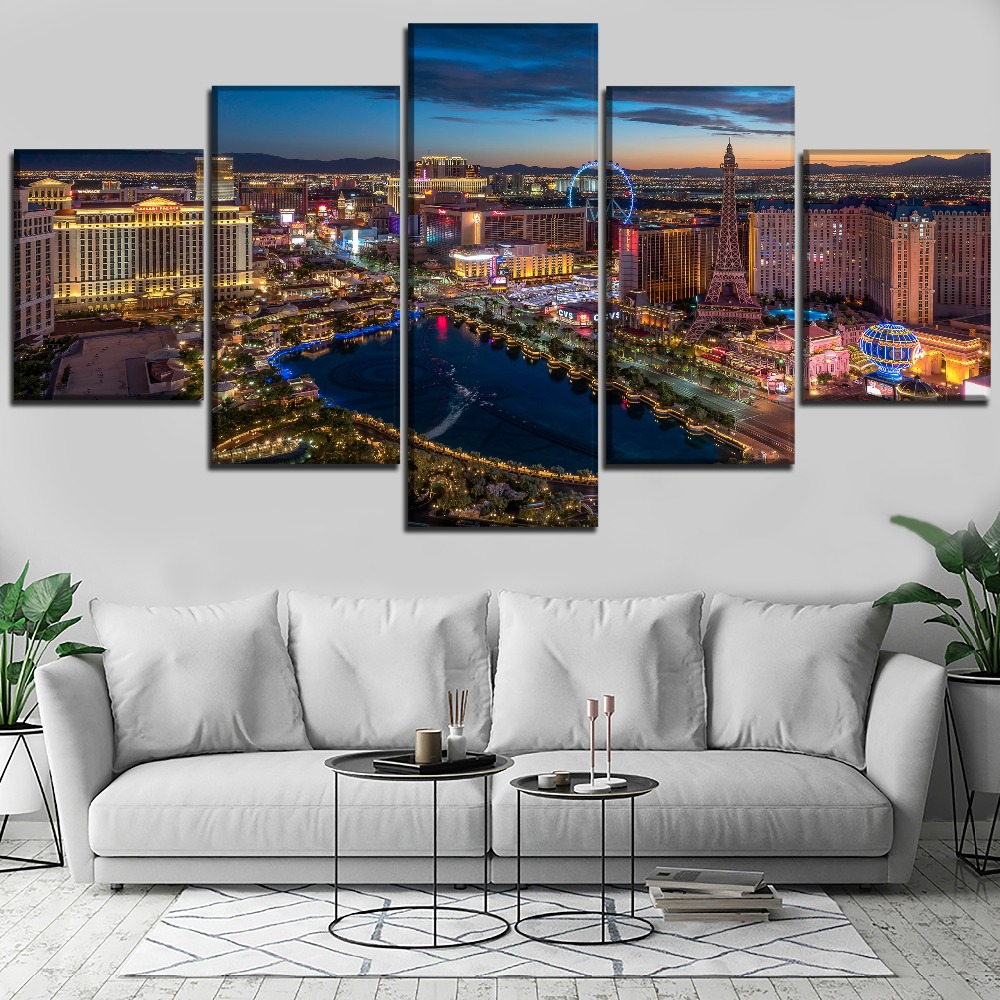 5 Panel Cityscape Las Vegas Night Skyscraper Canvas HD Printed Painting Wall Art Home Decorative Living Room Modular Picture