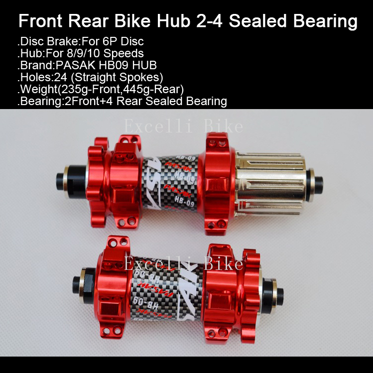 Excelli Mountain Bike Hub 2-4 Sealed Bearing 24 Holes Disc Brake MTB Road Bicycle Hubs Free Quick Release Red Black Blue Yellow west biking bike chain wheel 39 53t bicycle crank 170 175mm fit speed 9 mtb road bike cycling bicycle crank