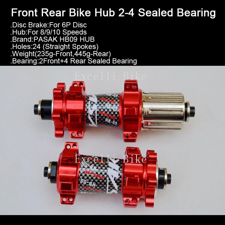 Excelli VTT moyeu 2-4 roulement scellé 24 trous frein à disque vtt route vélo moyeux libre dégagement rapide rouge noir bleu jaune