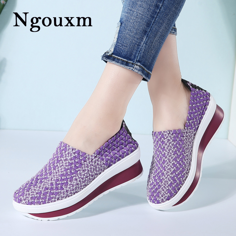 Ngouxm Summer Women Handmade Woven Elastic Shoes Loafers