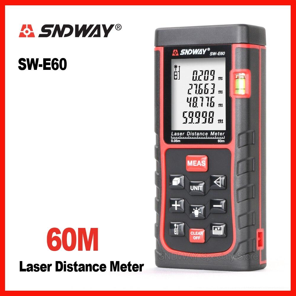 Genuine Sndway digital laser range finder misuratore di distanza metro a nastro roulette trena telemetro Elettronico righello SW-E60 Costruire