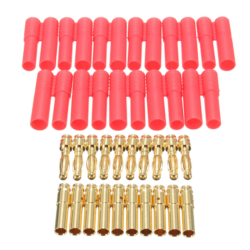 10 Sets HXT 4mm Banana Plugs with Red Housing for RC Connector Socket AM-1009C Gold Plated Banana Plug durable musical speaker cable adapter 20pcs banana plugs gold plated connectors with red black covers for 4mm audio cables