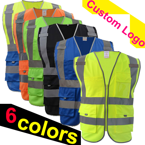SFvest Safety Vest Reflective Company Logo Printing  Workwear  Hi Vis Clothing Safety Vest Free Shipping