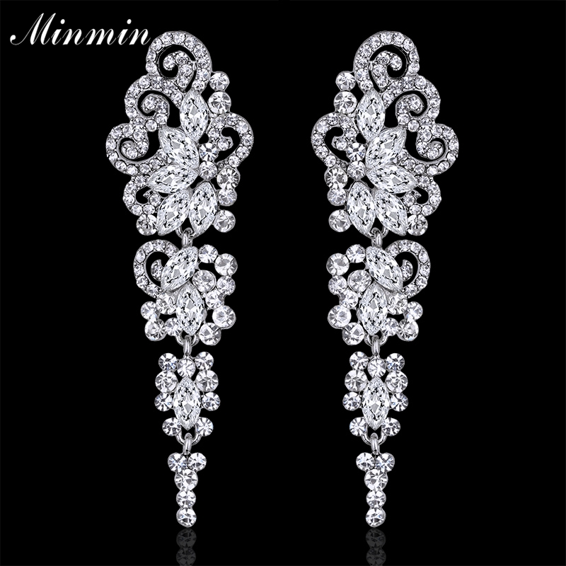 Minmin Jewelry Crystal Long Earrings for Women Silver Color Butterfly Bridal Wedding Dangle Earrings Femme Pendante EH295
