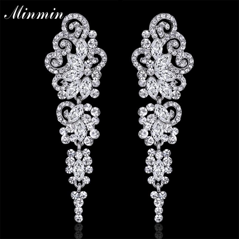 Minmin Jewelry Crystal Long Earrings for Women Silver Color Butterfly Bridal Wedding Dangle Earrings Femme Pendante EH295