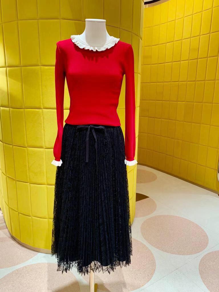 Nueva Encaje De Largo Primavera 2019 Negro Faldas Elegante Y Plisado Bordado Verano Dama qTwH8wt0