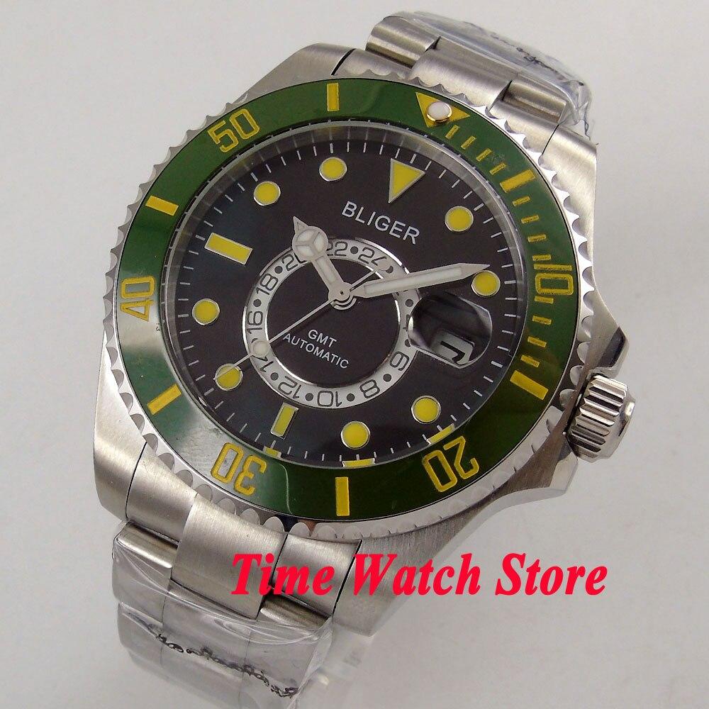 Bliger 43mm black dial Luminous Ceramic Bezel sapphire glass GMT Automatic movement Men's watch 202 цена и фото