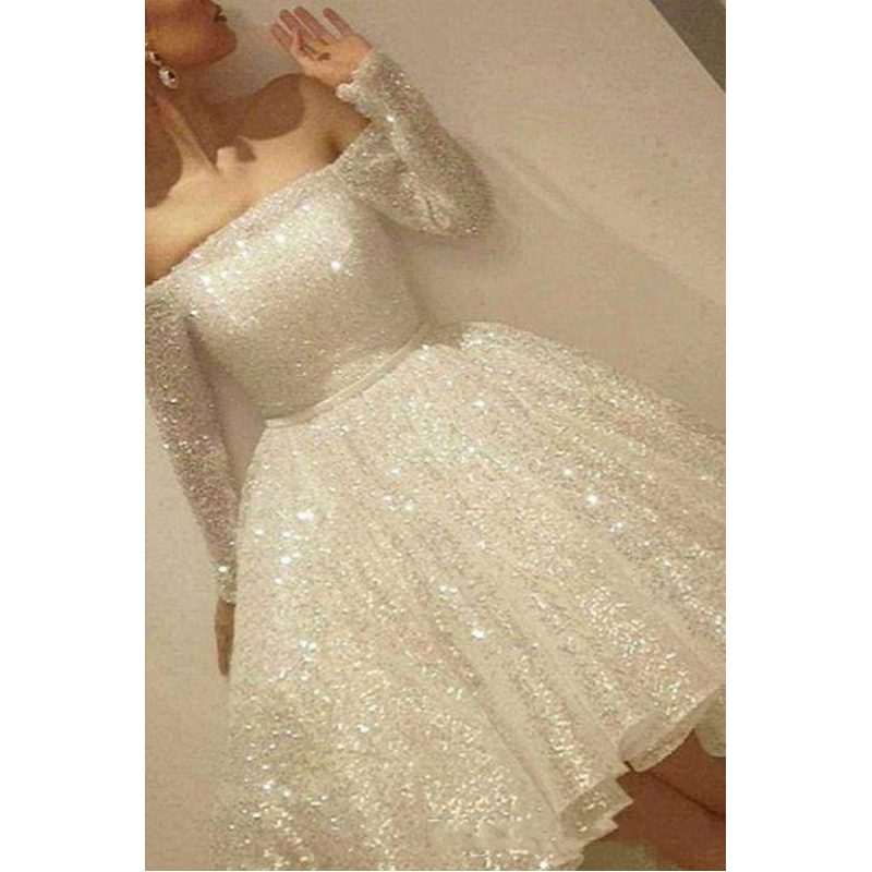 Sequins   Evening     Dress   Off Shoulder Full Sleeves   Evening     Dresses   Elegant Short Lace Vestido De Festa Awesome Formal Gown Midi