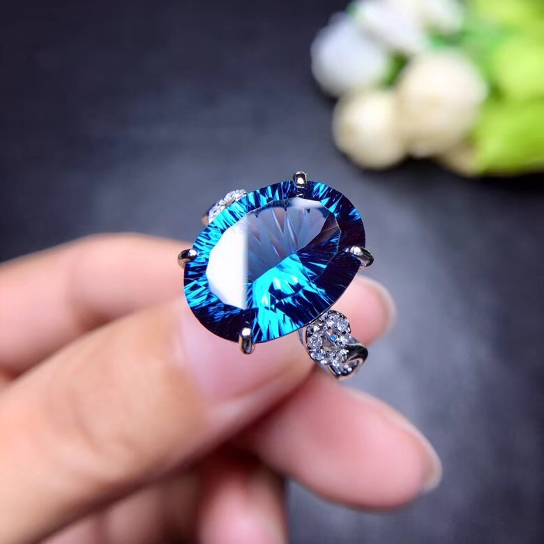 Uloveido Natural Blue Topaz Ring 10 Carat Gemstone 925 Silver Rings Birthstone Ring with Certificate and