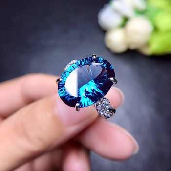 Uloveido Natural Blue Topaz Ring, 10 Carat Gemstone,925 Silver Rings,Birthstone Ring, with Certificate and Gift Box 20% FJ304 - Category 🛒 Jewelry & Accessories