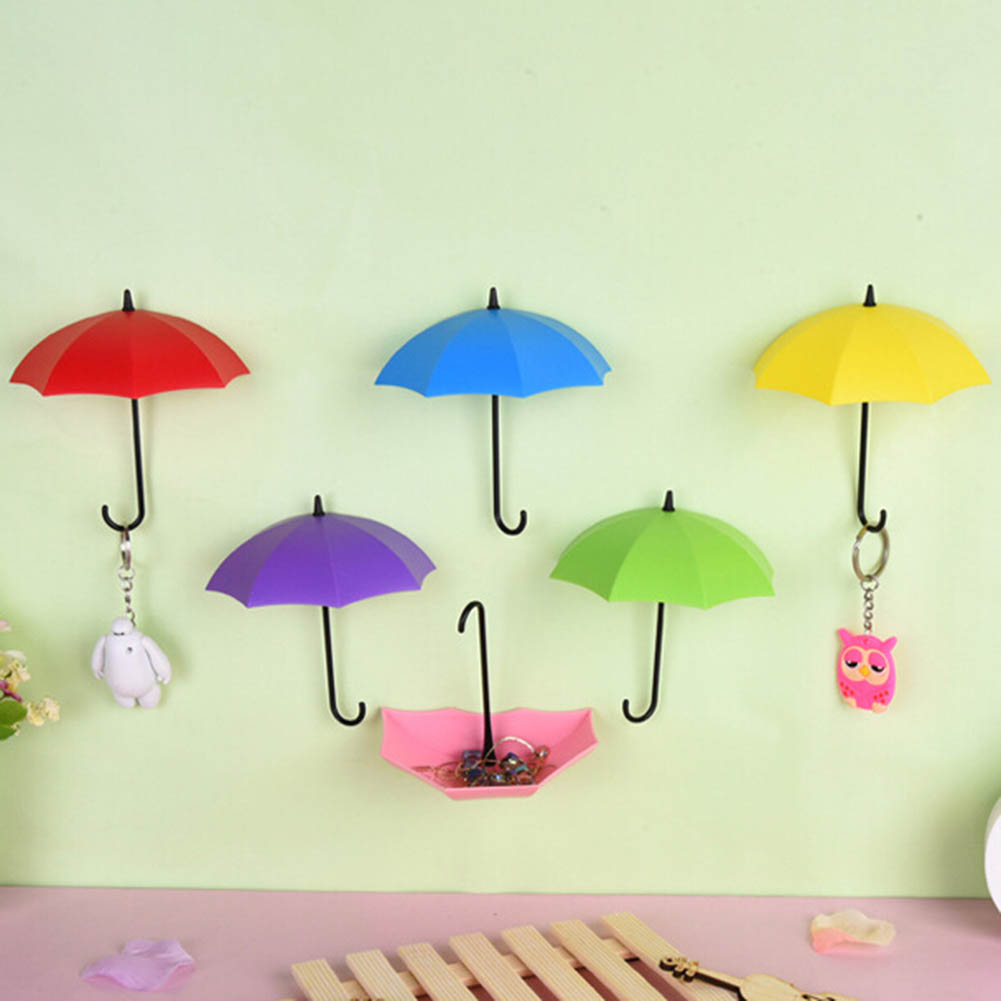 3pcs/lot Umbrella Shape Cute Self Adhesive Wall Door Hook Hanger Bag Keys Bathroom Kitchen Sticky Holder Ideal Gift For All Occasions Home Storage & Organization Bathroom Storage & Organization