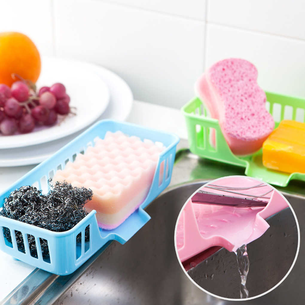 Kitchen sink storage basket hollow out of the style sponge drainage rack 3 colors kitchen dishwasher tableware storage box