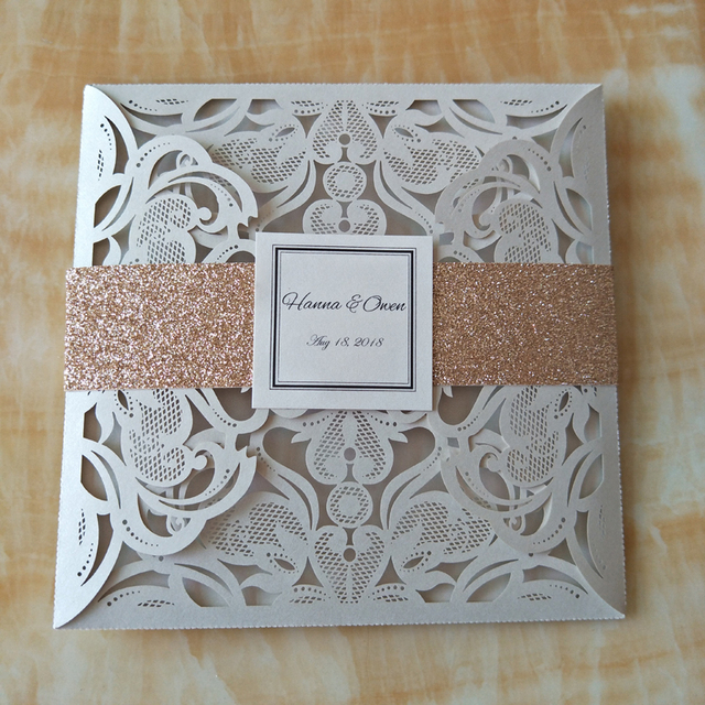 US $58 9 5% OFF|Free Personalized Printing Wedding Invitation Cards Laser  Cut Dinner Party Invitations+Belt+Envelope 50pcs Convites Casamento-in  Cards