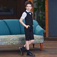 T016 Fashion Spring host boy waistcoat Set Piano performance Suit Vest+Shorts+T shirt+Bowtie 4pcs Boy's Suit