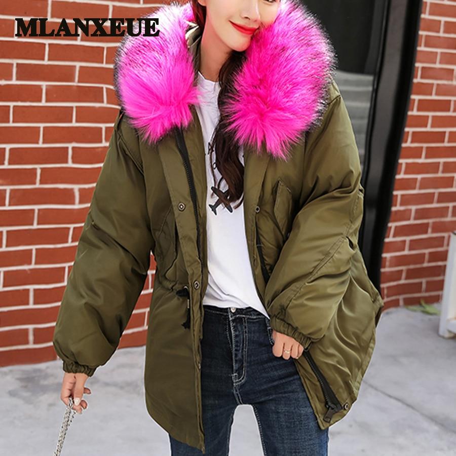 With fur trim hood solid cotton   down     coats   women adjustable sashe pockets straight loose windbreaker plus size casaco feminino
