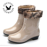 2017 Fashion Band Solid Women Rain Boot Waterproof Women Boots Rubber Jade Stretch Shoes 511