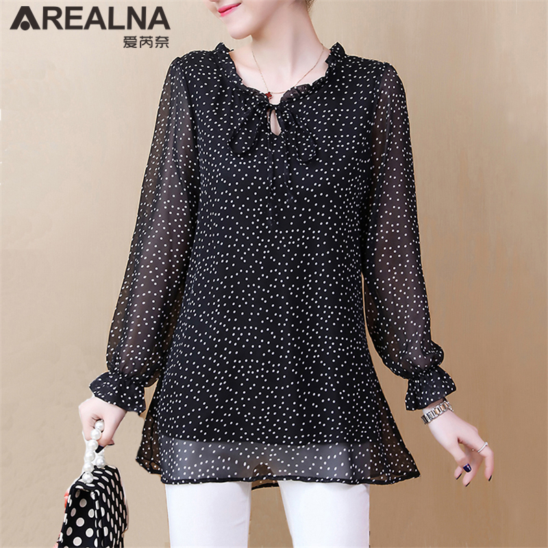 be56ddd6e4f99 Autumn Vintage Polka Dot Chiffon Women Blouse Shirts Plus Size 5XL Long  Sleeve Womens Tops and Blouses Blusas Camisas Mujer