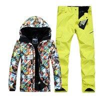 Warm Winter Ski Suit Set Men Windproof Waterproof Skiing Snowboarding Suits Set Male Outdoor Ski jacket + Pants Brand