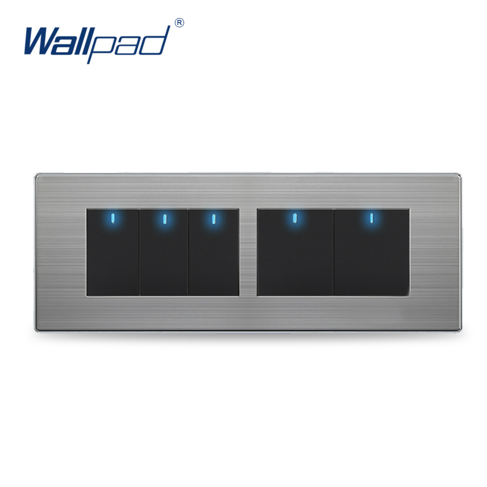 5 Gang 2 Way Switch Hot Sale China Manufacturer Wallpad Push Button One-Side Click LED Indicator Luxury Wall Light hot sale wallpad luxury 45a wall switch goats brown leather air condition push button 45a wall switch with led free shipping