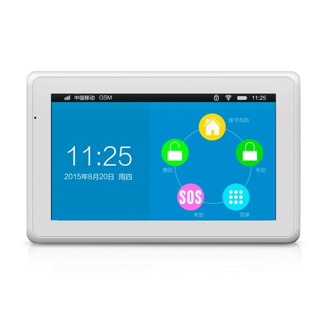 New arrival amazing design 7 Inch TFT Color Display flat WIFI+ GSM Alarm System KR-K7