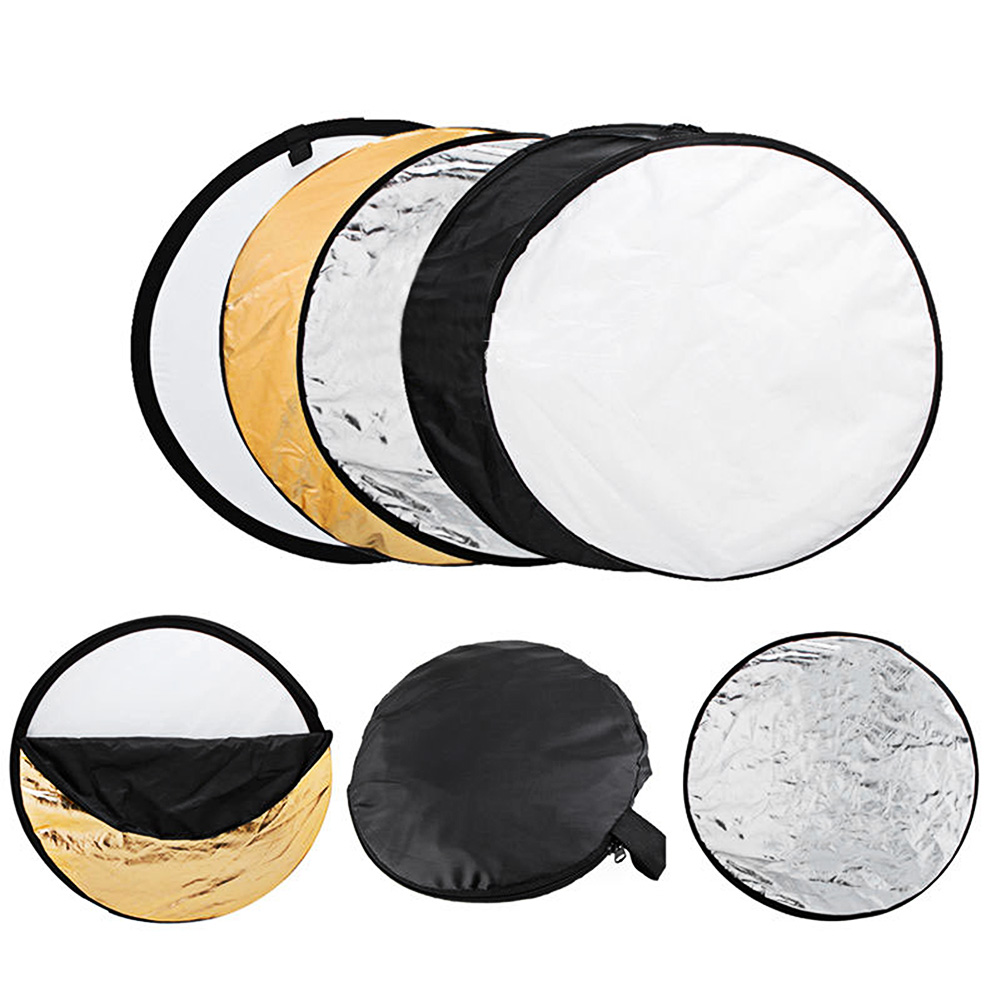 60cm Round 5 in 1 Photography Studio Light Mulit Photo Disc Collapsible Light Reflector Round Disk