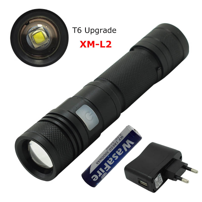 Zoomable USB Flashlight XM-L2 LED Torch Focusable Emergency Light Most Powerful 18650 Tactical Small Flashlight for Hunting Camp
