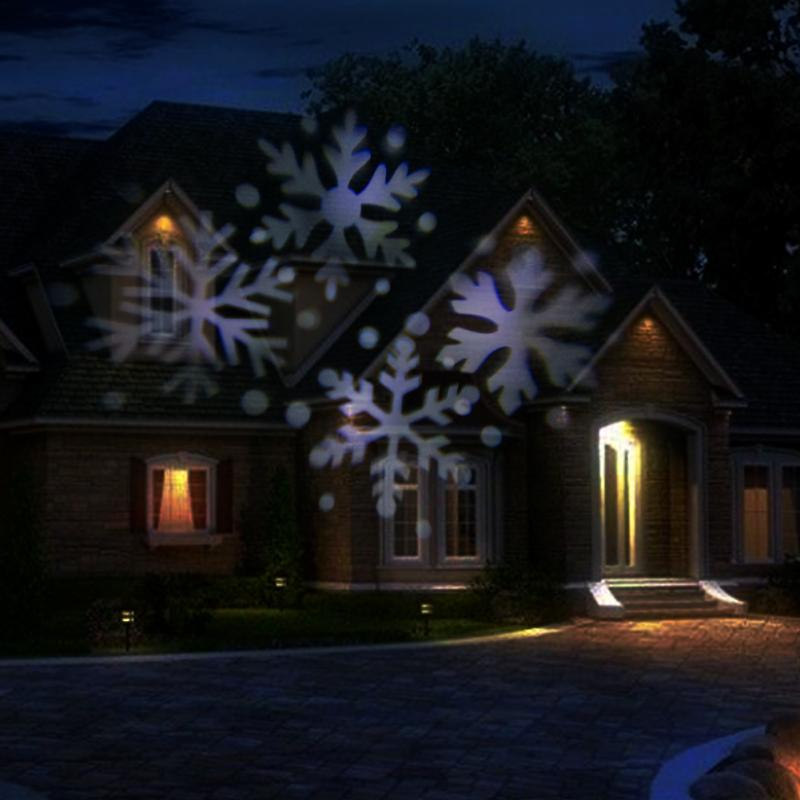 Outdoor Waterproof Moving Snowflake Landscape LED Projector Lamp Xmas Garden Light US ...