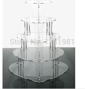 Wedding Acrylics 5 Tier Clear Heart Acrylic Party Cup Cake Stand