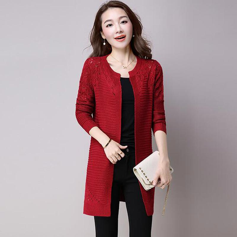 Women Sweater Long Cardigan 2017 New Fashion Autumn Winter Long Sleeve Hollow Knitted Cardigan female Sweaters Long Coat AC098