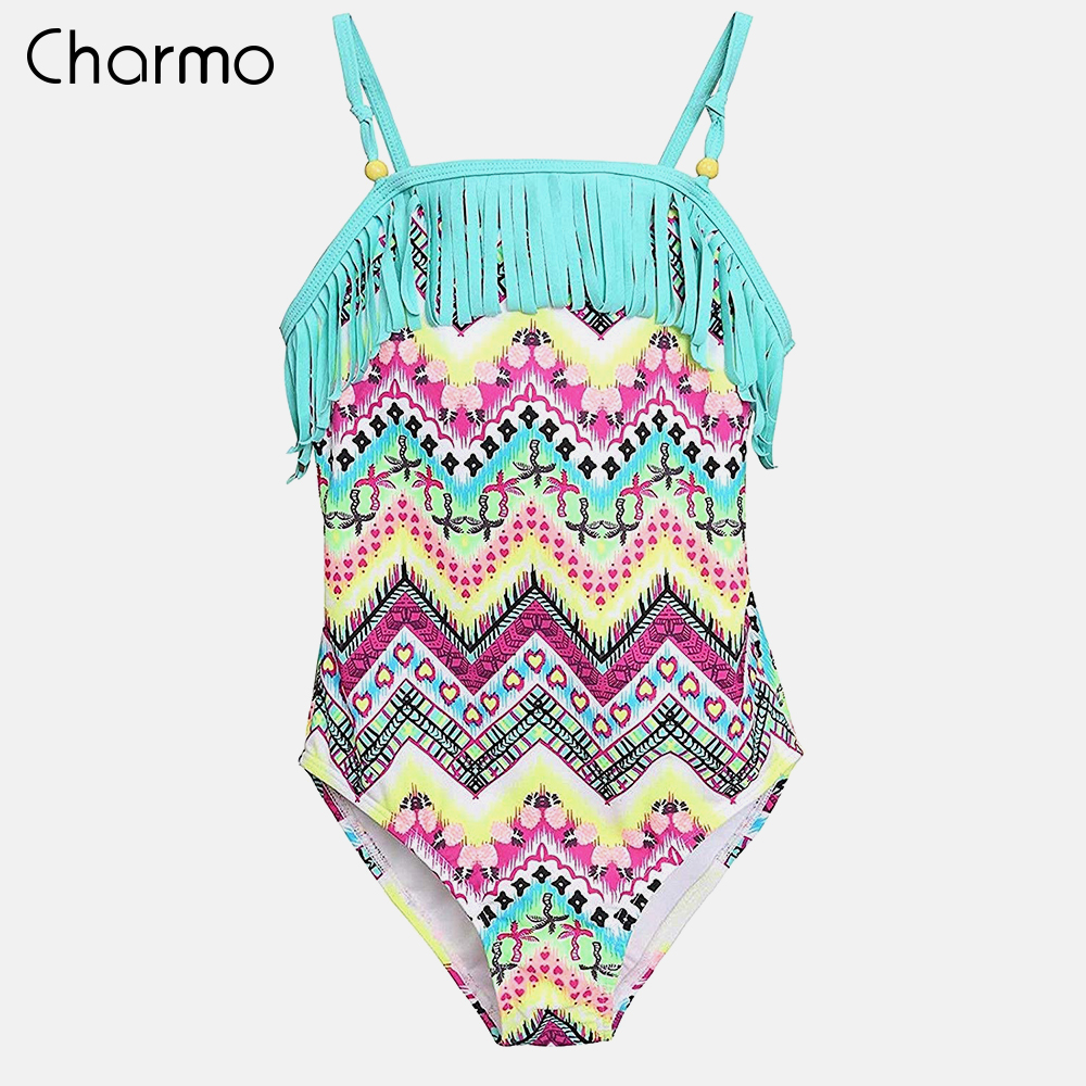 Charmo One-Piece Swimsuits Ethnic Style Vintage Printed Swimwear Kids Tassel Bikini Beach Wear Childrens One-piece Suits