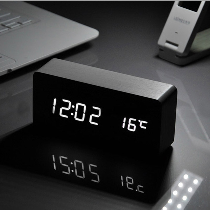 White LED font b wooden b font Board alarm clock Temperature thermometer digital font b watch