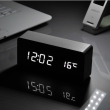 White LED wooden Board alarm clock+Temperature thermometer digital watch voice activated,Battery/USB power / reloj despertador