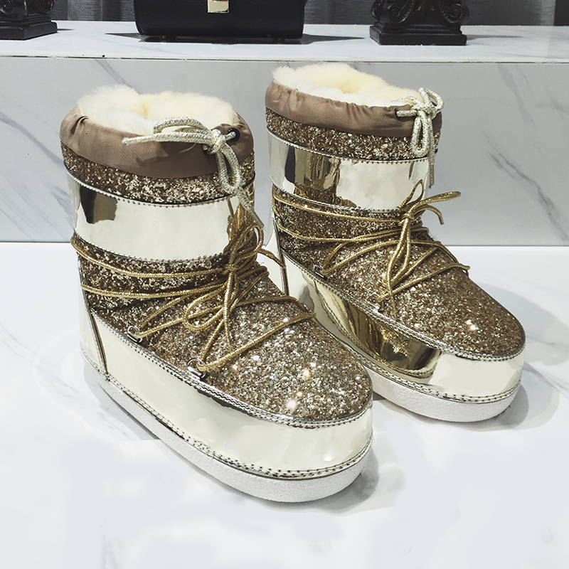 4fb8b05348 US $122.0 |New Shiny Glitter Snow Boots Fashion Sequined Women Ankle Boots  Shoes Woman Winter Warm Comfortable Platform Botas Ladies Shoes-in Snow ...