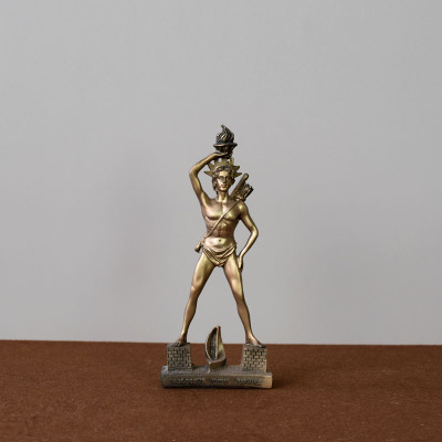 Greek tourist souvenir statue sun god of Rhode Island is decorated with European figures lovers merry christmas home image