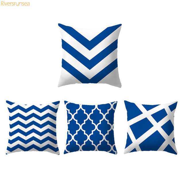 Ocean Style Cushion Blue Decorative Pillow Geometric Navy Blue And Inspiration Navy And White Decorative Pillows