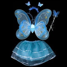 4Pcs/set Butterfly Wing Wand Headband Tutu Skirts Costume For Fairy Girl Kids Skirt