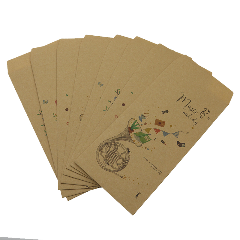 Envelope 8 Music Pattern Greeting Card Wedding Gift Envelope Invitation Office Stationery Paper Bag 19.5*8.7 Cm