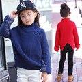 Nuevo estilo de Corea del sur chica tejer suéteres de cuello alto invierno cálido suéter de la muchacha de la manga