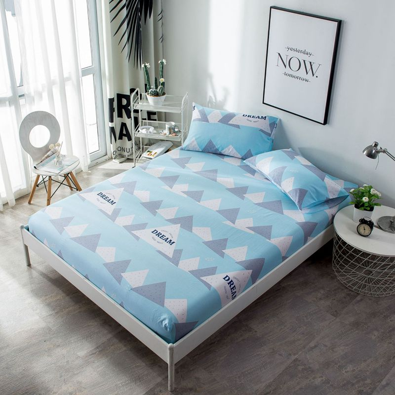 100% Cotton Mattress Protector With Elastic Geometric Pattern Printing F Mattress Cover Pad Baby Fitted Sheet Protection