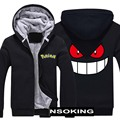 New Fashion Winter Warm Pokemon Go Gengar hoodie Anime Pocket Monster Squirtle Men Thick Hooded Warm Jacket Coat