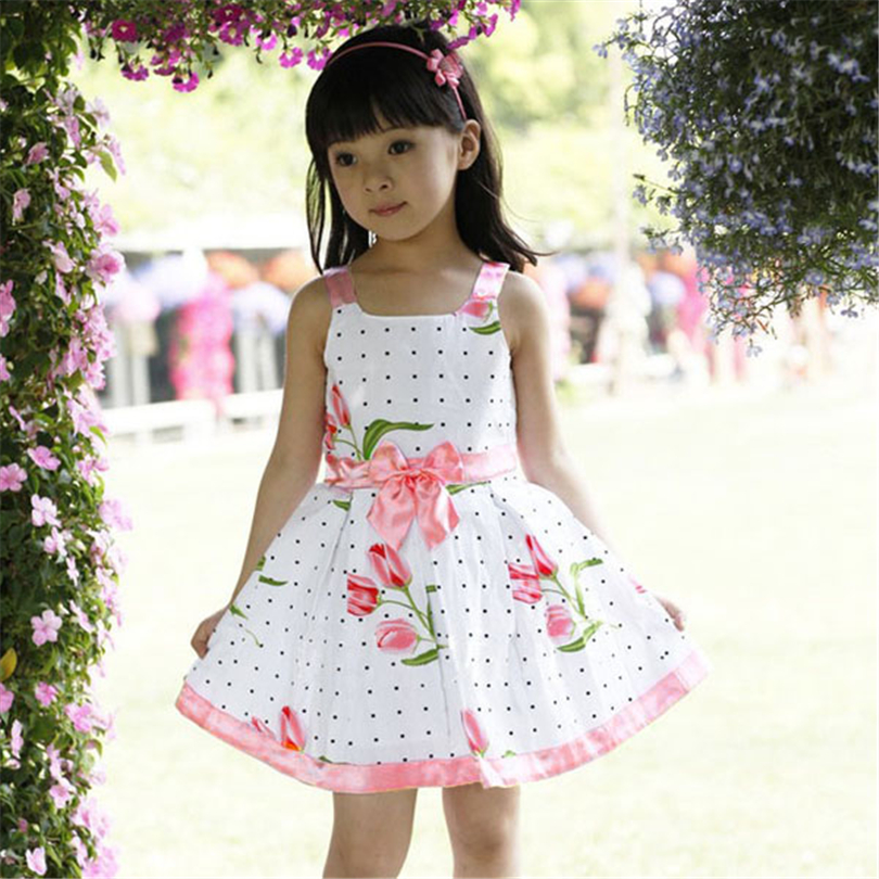 2017 Hot Sale Kids Girls Princess Summer Sleeveless Dress Baby Bowknot Floral Party Dresses 2-6Years F3 free shipping new arrival 2015 fashion summer baby girl lovely flower sleeveless bowknot round neck party dress hot sale