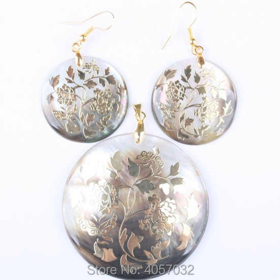 Natural Mother of  Pearl Shell Rose Flower Round Bead Pendant Dangle Earrings 1 Set