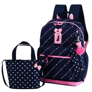 3pcs/set School Bags For Girls 2020 Sweet Cute Princess Children Backpack Kids Bookbag Primary School Backpack Mochilas school bags for girls sweet cute princess children backpack kids bookbag primary school backpack 3 set pcs children school bags