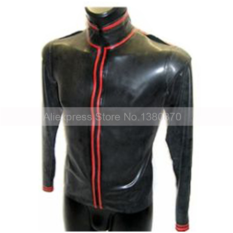 Black and Red Trims Latex ManTop Shirt Rubber Long Sleeves Male Teddies Bodysuit Zentai with Front Zip S LSM012
