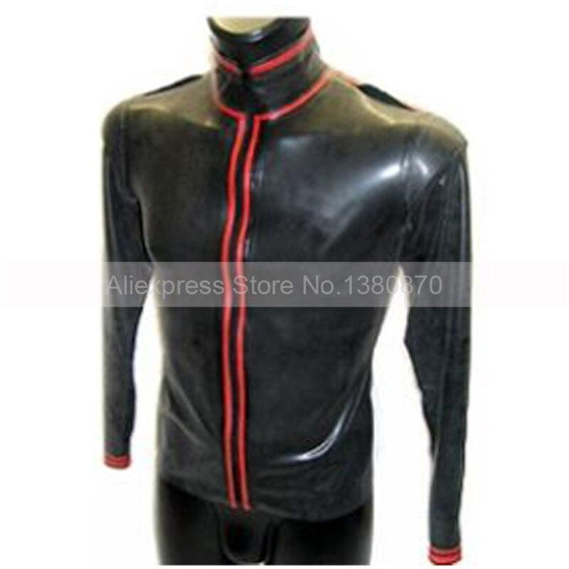 Zwart en Rood Versieringen Latex ManTop Shirt Rubber Lange Mouwen Mannelijke Teddybeer Bodysuit Zentai met Ritssluiting S LSM012