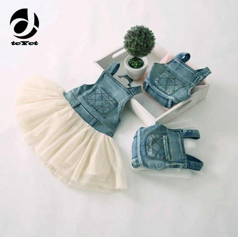 58a36f7d73f Baby Summer Dress Tutu Lace Denim Patch Children Party Frock Baby Girls  Sundress Kids Princess Party
