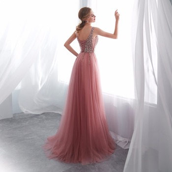 NOBLE WEISS V-neck Evening Gown 2019 Sexy Crystal Beading Split Tulle Prom Dress Floor Length Evening Dress vestido longo festa 2