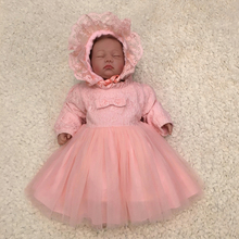 Free Shipping 2019 New Style 3M-24M Toddler Dresses Long Sleeves Peach Baby Dress For 1 Year Girl Birthday Bow Party Gown Infant