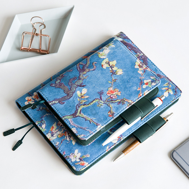 Vintage Fabric Almond Tree Blossom Notebook Journal Diary Cover A5 A6 Planner Notebook Case van Gogh lenwa classic van gogh series notebook a6 vintage business carry small portable notebook 1pcs